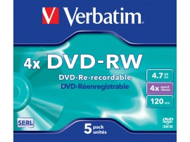 Verbatim 43285 DVD-RW 4x 4.7GB - 5 Pack Jewel Case - Multipack deal available