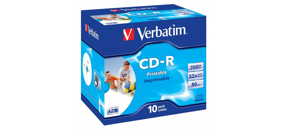 Verbatim 43325 CD-R 80min 52x Printable - 10 Pack Jewel Case - Multipack deal available