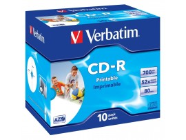Verbatim 43325 CD-R 80min 52x Wide Inkjet Printable - 10 Pack Jewel Case - Multipack deal available
