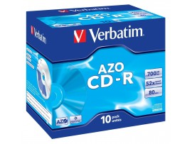 Verbatim 43327 CD-R AZO 80min 52x - Pack of 10 Jewel Case - Multipack deal available