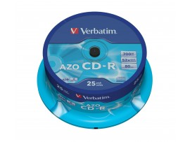 Verbatim 43352 CD-R 52x 80Min Super AZO -  25 Pack Spindle