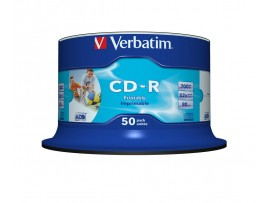 Verbatim 43438 CD-R 80 Min 52X Wide Inkjet Printable - 50 Pack Spindle  (Unbranded)