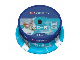 Verbatim 43439 CD-R AZO 52x Wide Inkjet Printable  - 25 Pack Spindle