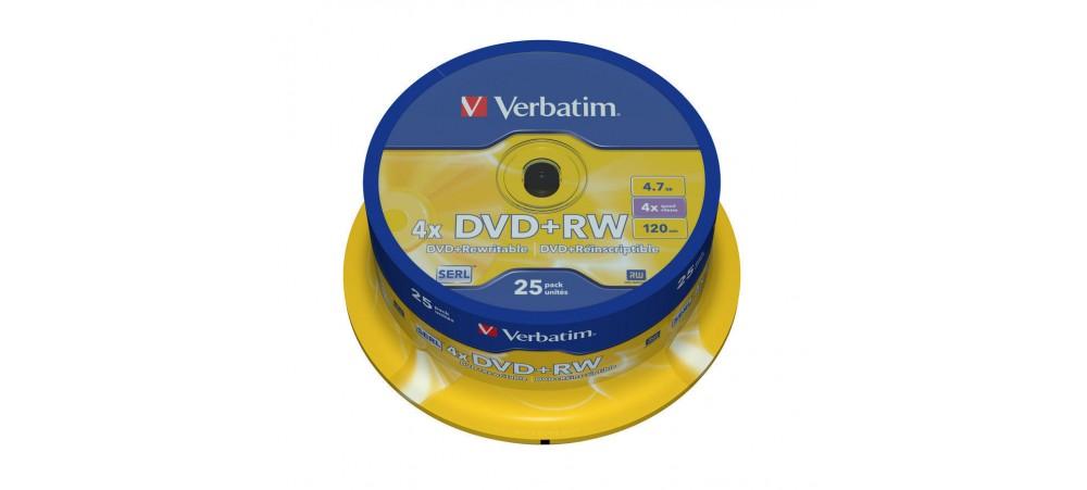 Verbatim 43489 DVD+RW Matt Silver 4.7GB 4x - 25 Pack Spindle