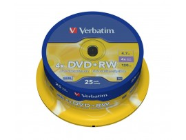 Verbatim 43489 DVD+RW Matt Silver 4.7GB 4x - 25 Pack Spindle