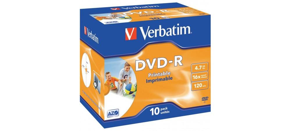 Verbatim 43521 DVD-R Printable AZO 16x 4.7GB - 10 Pack Jewel Case