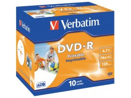 Verbatim 43521 DVD-R Printable AZO 16x 4.7GB - 10 Pack Jewel Case