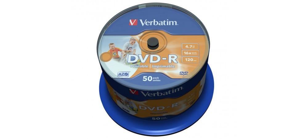 Verbatim 43533 DVD-R AZO 16x 4.7GB Printable - 50 Pack Spindle