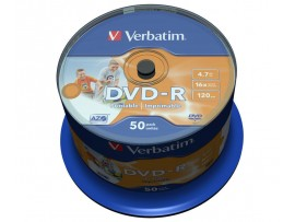 Verbatim 43533 DVD-R AZO 16x 4.7GB Wide Inkjet Printable - 50 Pack Spindle
