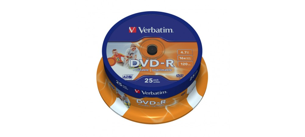 Verbatim 43538 DVD-R 16x Wide Printable  - 25 Pack Spindle