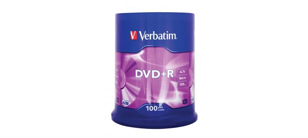 Verbatim 43551 DVD+R 16x 4.7GB Matt Silver - 100 Pack Spindle