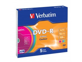 Verbatim 43557 DVD-R 16x - Pack of 5 Slim Case