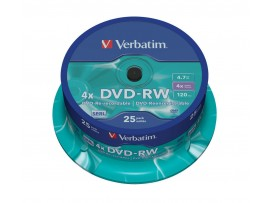Verbatim 43639 DVD-RW 4x 4.7GB - 25 Pack Spindle