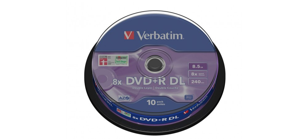 Verbatim 43666 DVD+R Double Layer 8.5GB 8x Matt Silver - 10 Pack Spindle