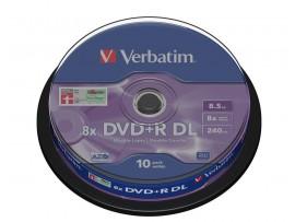 Verbatim 43666 DVD+R Double Layer 8.5GB 8x Matt Silver - 10 Pack Spindle