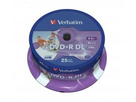 Verbatim 43667 DVD+R Double Layer 8x 8.5GB Printable - 25 Pack Spindle