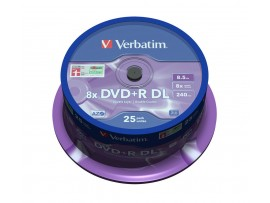 Verbatim 43757 DVD+R Double Layer 8x Matt Silver - 25 pack Spindle