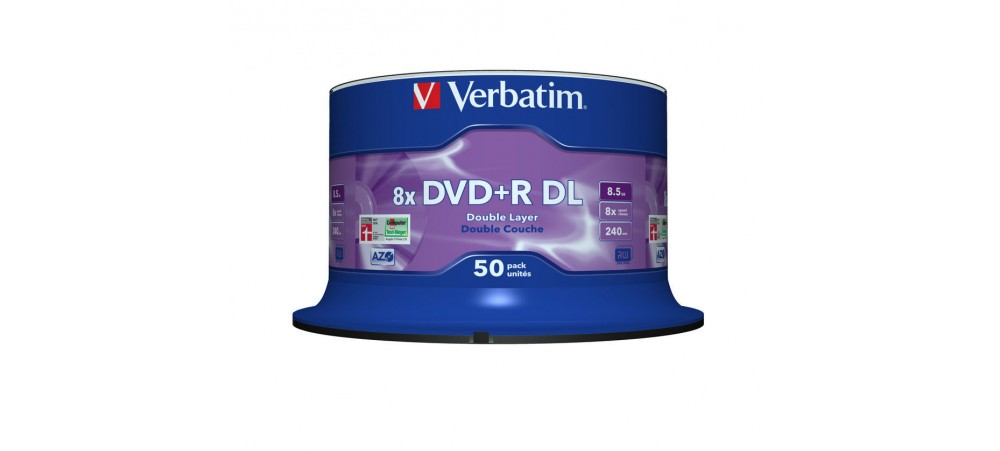 Verbatim 43758 DVD+R Double Layer 8x Matt Silver - 50 pack Spindle
