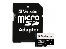 16GB Class 10 Micro SDHC with Adapter - Verbatim - 44082