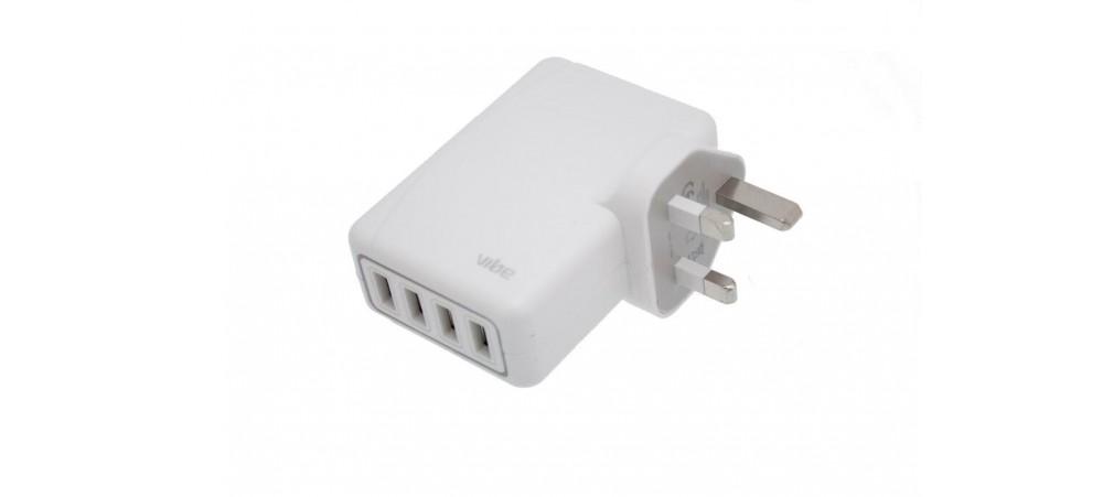 VIBE 4 Way USB Rapid Mains Charger