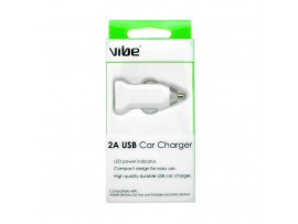 VIBE 2 Amp High Power USB White Car Charger For Tablet / Smartphone- (Cable not included)