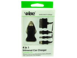 VIBE 4 in 1 Universal Car Charger - 1M Lead with 4 connections