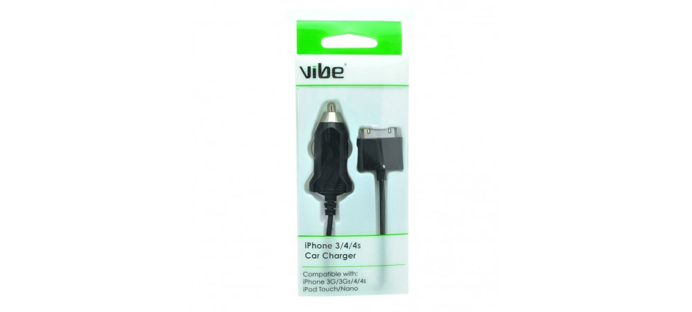 VIBE iPhone 3 / 4 / 4S Car Charger with 1M fixed Cable