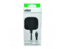 VIBE Micro USB Fixed Cable Mains Charger - Black