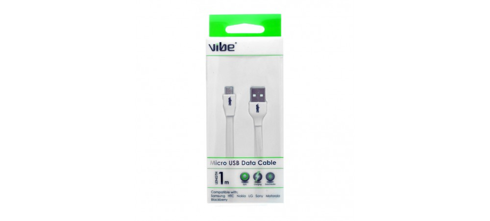 VIBE  Micro USB data charge / Sync Cable (White) - 1M FLAT