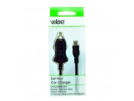 VIBE Mini USB Car Charger With Fixed 1M lead - SAT NAV, Tom Tom