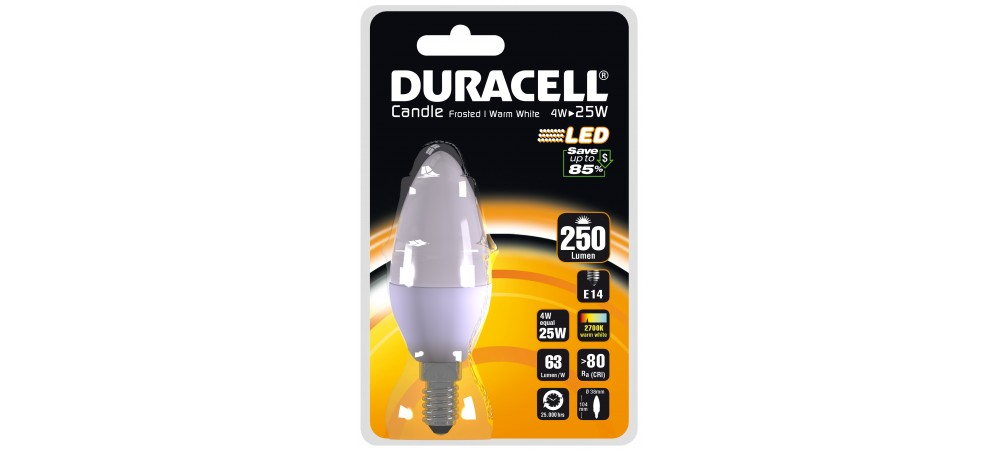 DURACELL 4W E14 Candle 250 Lum 2700k WW Frosted Clear Blister