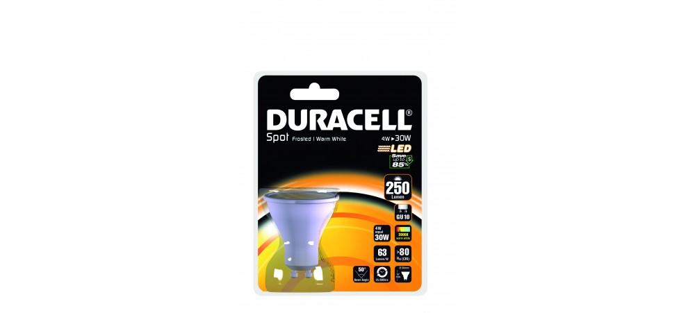 Duracell 4W GU10 250 Lum 3000 Frosted Blister