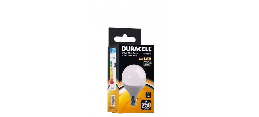 Duracell 3.8W E14 Mini Globe 250 Lum 2700k WW Frosted Box