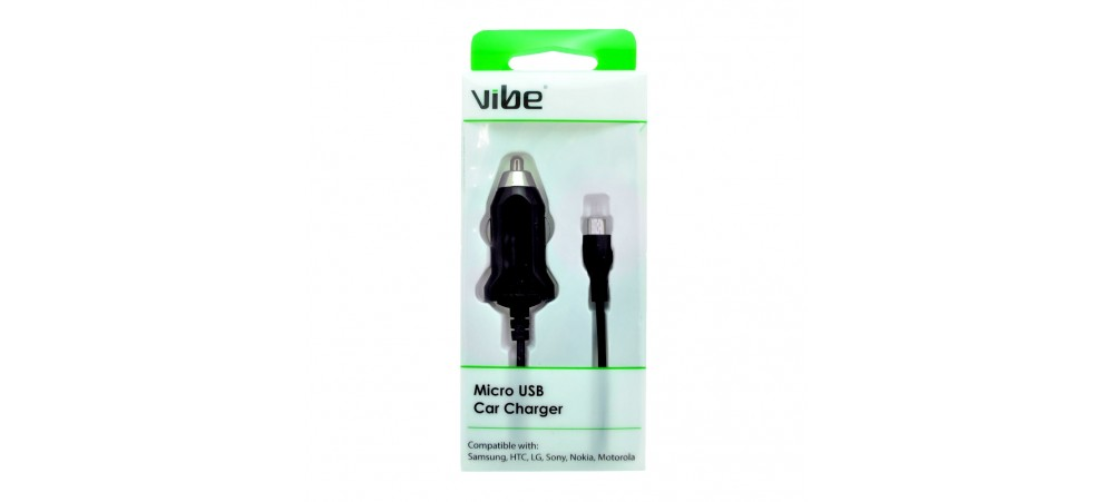 VIBE Micro USB Car Charger  - Fixed Cable - Black