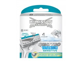 Quattro Titanium Sensitive Razor Blades by Wilkinson Sword - Pack of 4 / 8 Cartridges