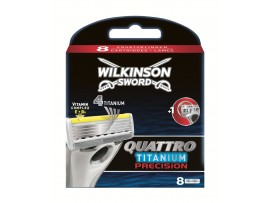 Quattro Titanuim Precision Razor Blades by Wilkinson Sword - Pack of 8 Cartridges