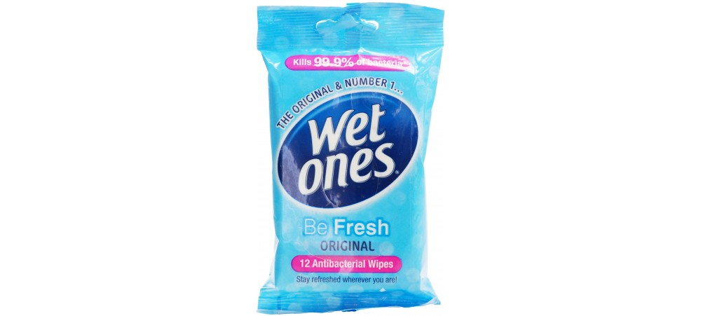 Wet Ones Be Fresh Original Antibacterial Wipes - Pack of 12