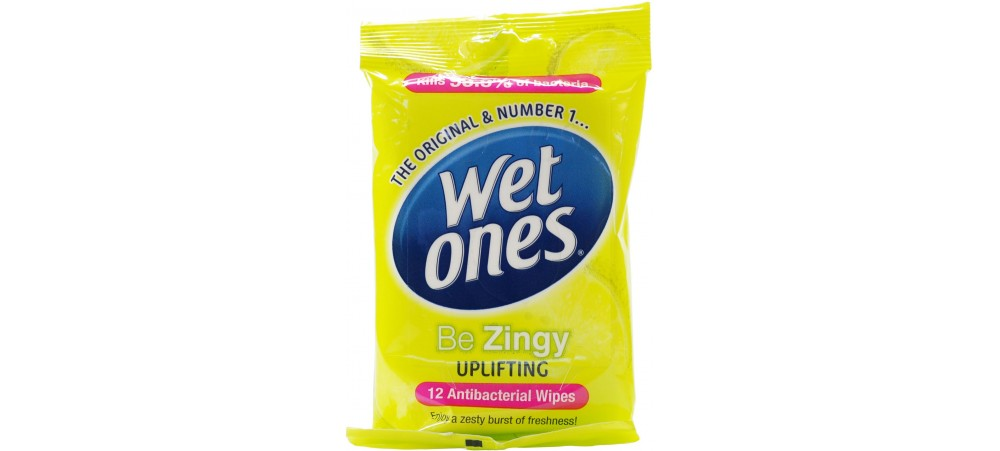 Wet Ones Be Zingy Antibacterial Wipes - Pack of 12