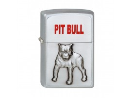 Zippo Pitbull Emblem Classic Windproof Lighter - Satin Chrome - 1320048