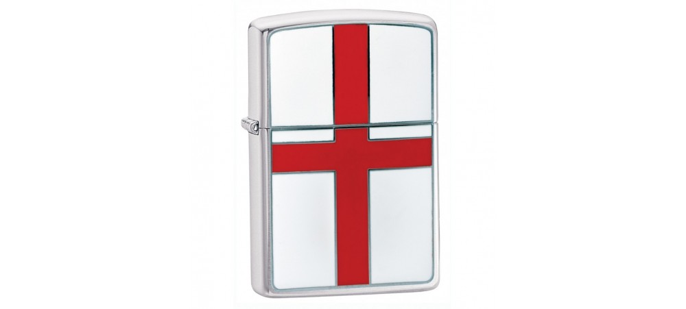 Zippo 200E England Flag Emblem Windproof Lighter - Brushed Chrome