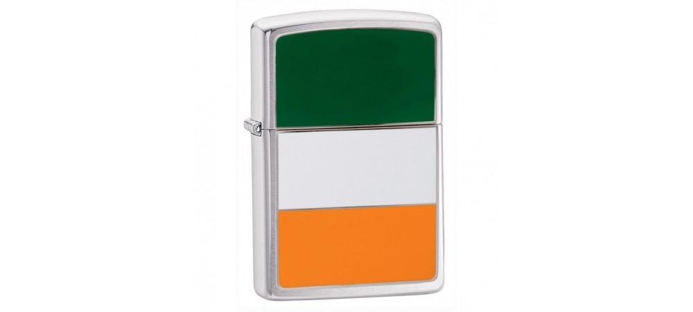 Zippo 200IRE Ireland Flag Emblem Windproof Lighter - Brushed Chrome