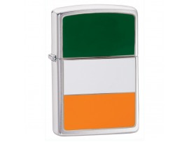 Zippo 200IRE Ireland Flag Emblem Windproof Lighter - Brushed Chrome