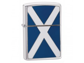 Zippo 200S Scotland Flag Emblem Windproof Lighter - Brushed Chrome
