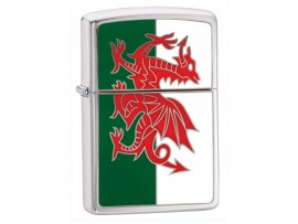 Zippo 200W Wales Flag Emblem Windproof Lighter - Brushed Chrome