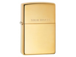 Zippo 254 Solid Brass Classic Windproof Lighter - High Polish Brass Finish