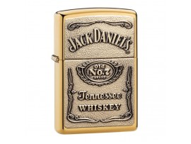 Zippo 254BJD.428 Jack Daniel's Label Emblem Classic Windproof Lighter - High Polish Brass Finish