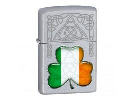 Zippo 60000977 Irish Flag Shamrock Windproof Lighter - Satin Chrome