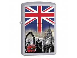 Zippo 60001628 London Scene Windproof Lighter - Satin Chrome