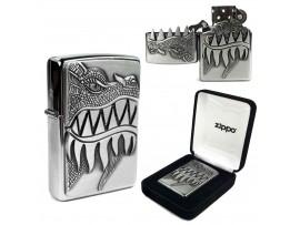 "Zippo 28969 ""Fire Breathing Dragon"" emblem design - Windproof Lighter - Brushed Chrome"