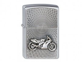 Zippo 2000225 Motorbike Emblem Windproof Lighter - Brushed Chrome